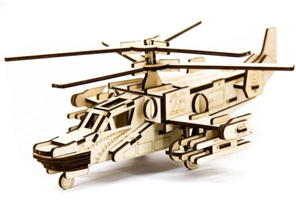 Дерев'яний 3Д пазл Гелікоптер військовий, ДРЛ107-3