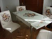 """Комплект кухонный стол и стулья """"Контрастный букет"""" МДФ каленое стекло 70*110 (Лотос-М)"""