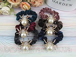 Бархатные резинки для волос Ø6 см с пауком 12 шт/уп. цветные
