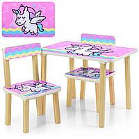 Детский Деревянный столик и два стульчика Единороги 507-65