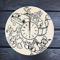 Дизайнерские деревянные настенные часы в детскую «Дональд Дак и Дейзи Дак»