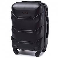Дорожный чемодан пластиковый Wings 147 ручная кладь 4 колеса черный