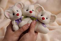 Декоративная  Мышка Мини с фетра в молочном цвете