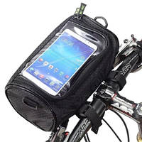 Велосумка на руль + отдел для смартфона, бардачок для велосипеда в черном цвете Wolf