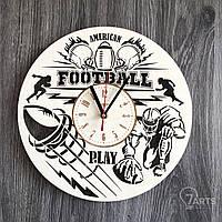 """Круглые часы из дерева на стену """"Американский футбол"""""""
