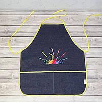 Фартук с нарукавниками детский для трудов, рисования, кухни - темно-синий цвет (кисти и краски)