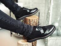 Мужские  туфли броги Onyx (черный замш/кожа)