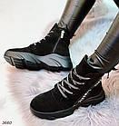 Женские зимние ботинки в черном цвете, из натуральной замши 36 ПОСЛЕДНИЕ РАЗМЕРЫ, фото 2