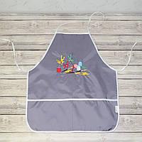 Фартук с нарукавниками детский для трудов, рисования, кухни - серый цвет (кляксы и краски)