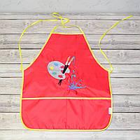Фартук с нарукавниками детский для трудов, рисования, кухни - красный цвет (палитра и краски)
