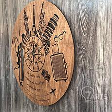 """Классические бесшумные настенные часы из дерева """"Путешествия"""", фото 2"""