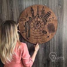 """Классические бесшумные настенные часы из дерева """"Путешествия"""", фото 3"""