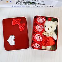 Мыло из роз в форме сердца в красном цвете подарочный набор