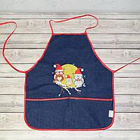 Фартук с нарукавниками детский для трудов, рисования, кухни - темно-синий цвет (палитра и краски)