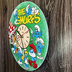 Детские настенные часы цветные «Смурфики», фото 2