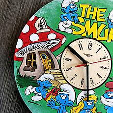 Детские настенные часы цветные «Смурфики», фото 3