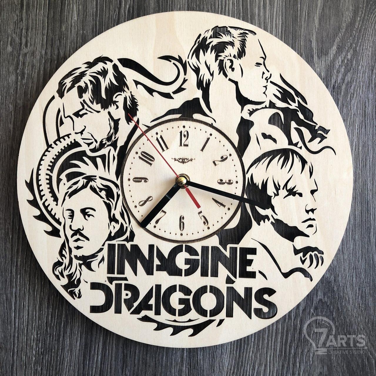 Концептуальные настенные часы в интерьер «Imagine Dragons»