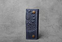 Ключница кожаная синяя, орнамент Мандала, 6 карабинов, фото 1