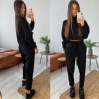 Стильный женский спортивный костюм на флисе,черного цвета