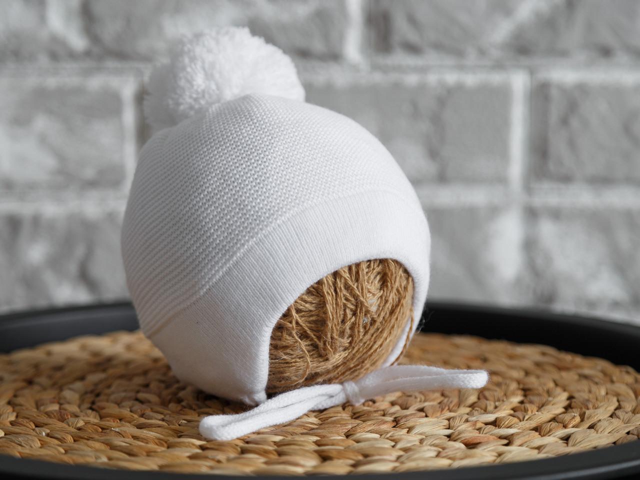 """Вязанная шапка """"Albie"""" на махре, белая"""