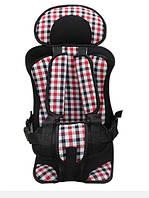 Бескаркасное автокресло Child Car Seat детское авто-кресло в машину Клетка розовая