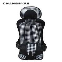 Бескаркасное автокресло Child Car Seat детское авто-кресло в машину Клетка серая