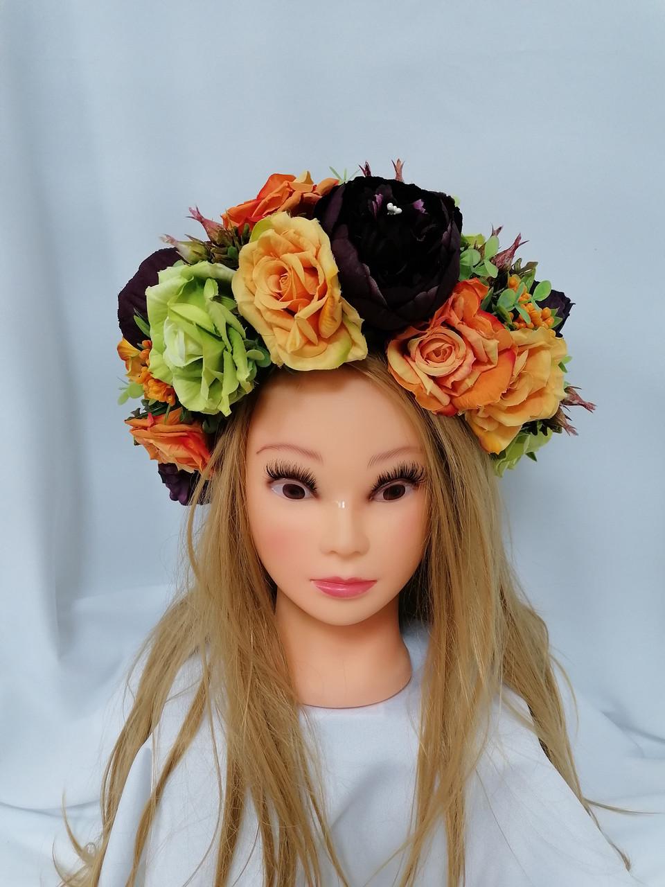 Венок на голову Волинські візерунки  из искусственных цветов 5535