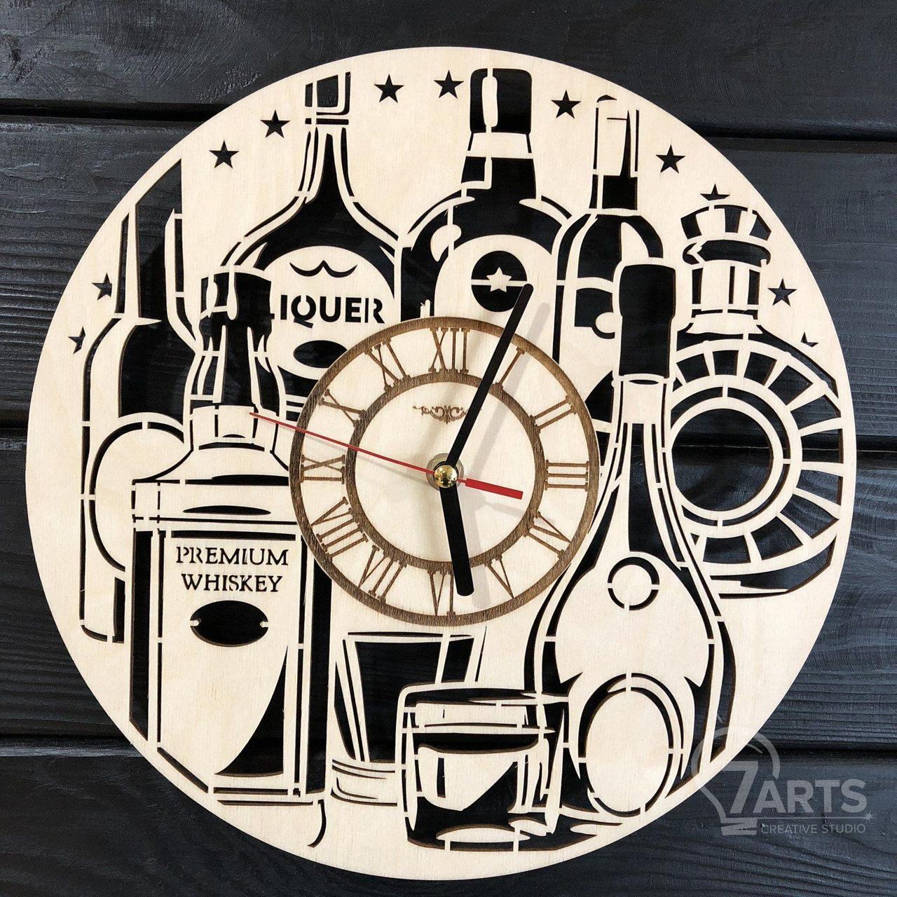 Тематические интерьерные настенные часы бесшумные «Элитный алкоголь»