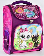 Ранець каркасний Кошенята 2, 3, 4 клас для дівчинки Шкільний рюкзак портфель ортопедичний