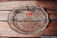 """Блюдо овальное стеклянное Helios """"Хрусталь"""" 150*195 мм (6355)"""