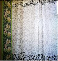 Шторка для ванной с кольцами Miranda MOTIVES GREY (Турция) 180х200 см, фото 1