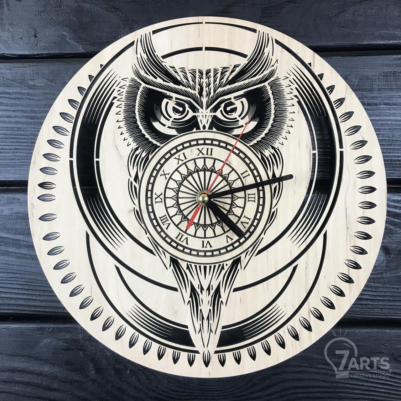 Стильные настенные деревянные часы «Сова»