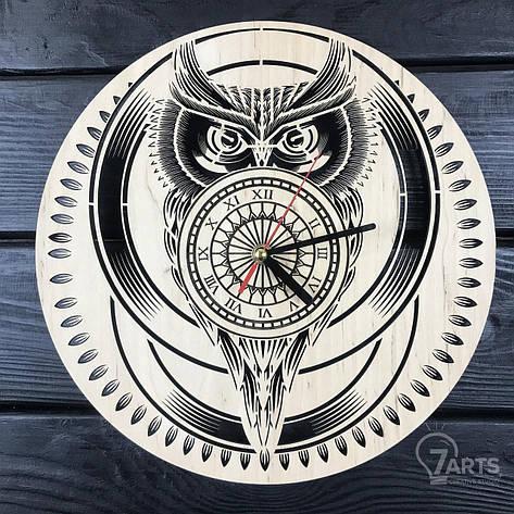 Стильные настенные деревянные часы «Сова», фото 2