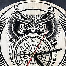 Стильные настенные деревянные часы «Сова», фото 3