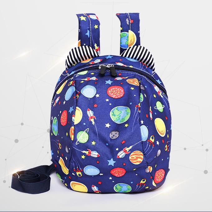 Рюкзак детский маленький, космос. Синий с поводком ( код: IBD002Z )