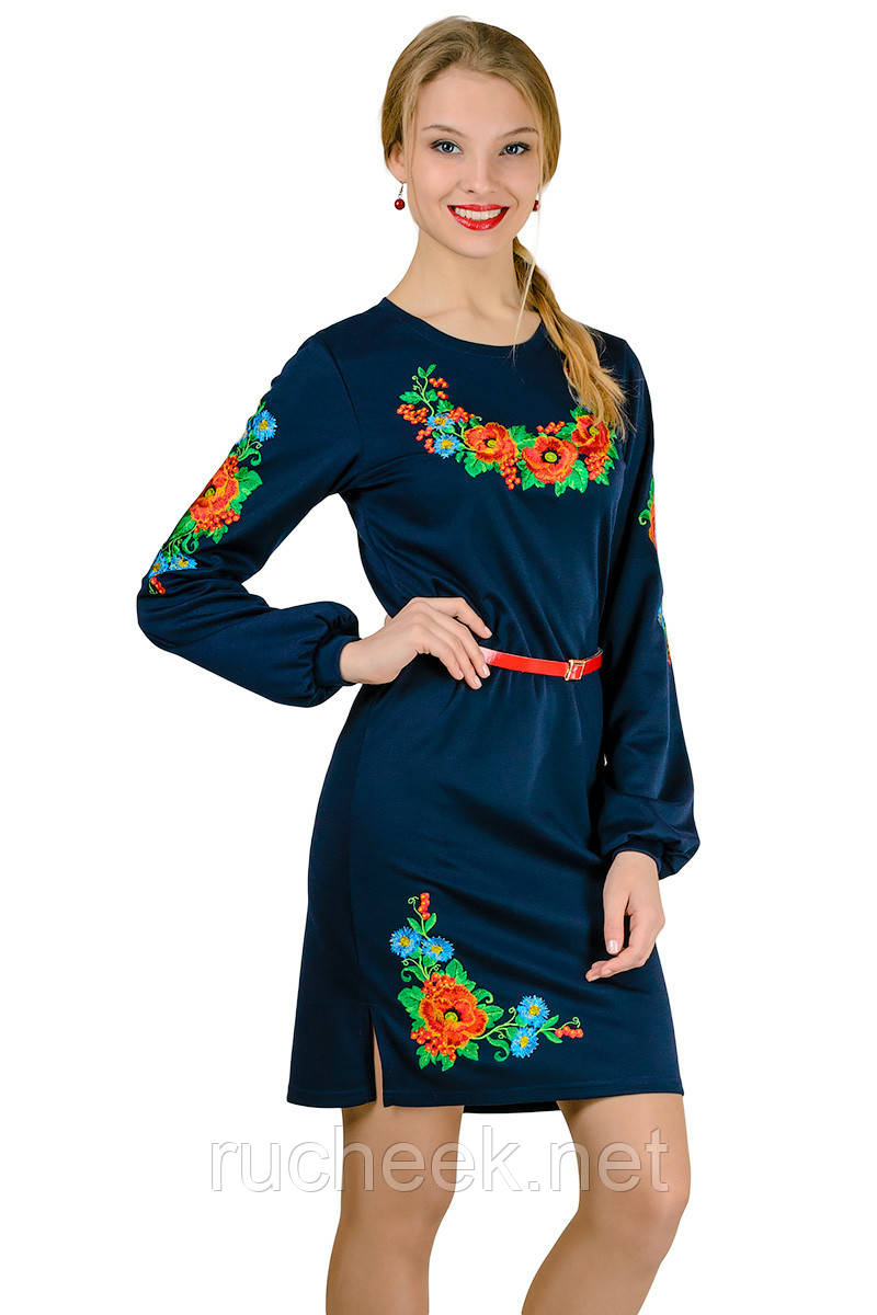 Платье вышиванка Калина (с длинным рукавом)