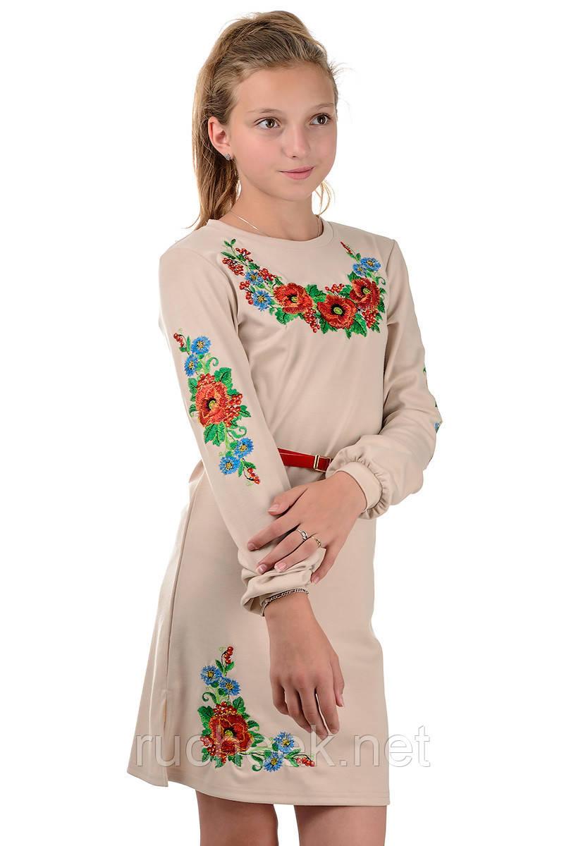 Детское платье-вышиванка (бежевое) 40 р.(рост 146)
