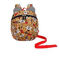 Рюкзак детский маленький, мишки. Коричневый с поводком ( код: IBD002K )