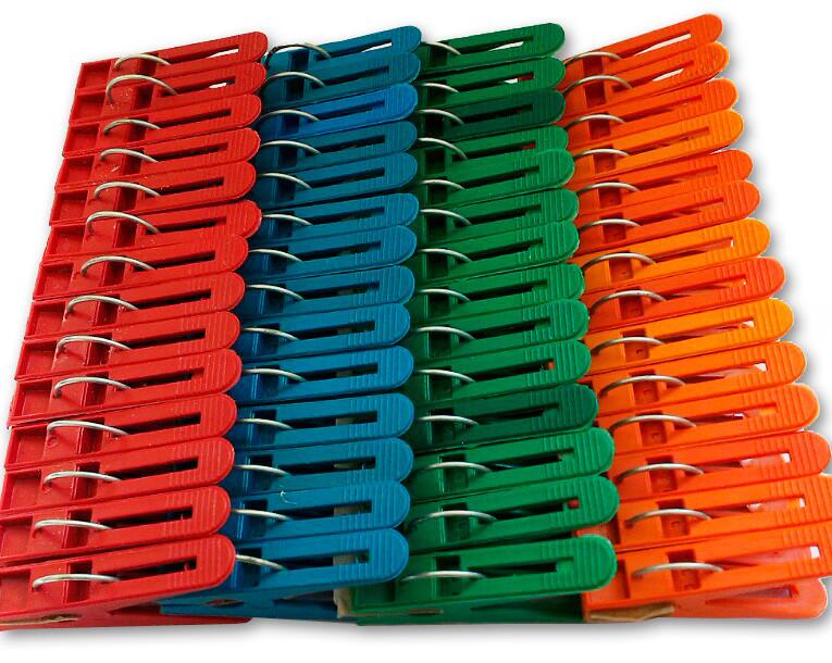 Прищепки пластиковые разноцветные, 100 шт./уп.
