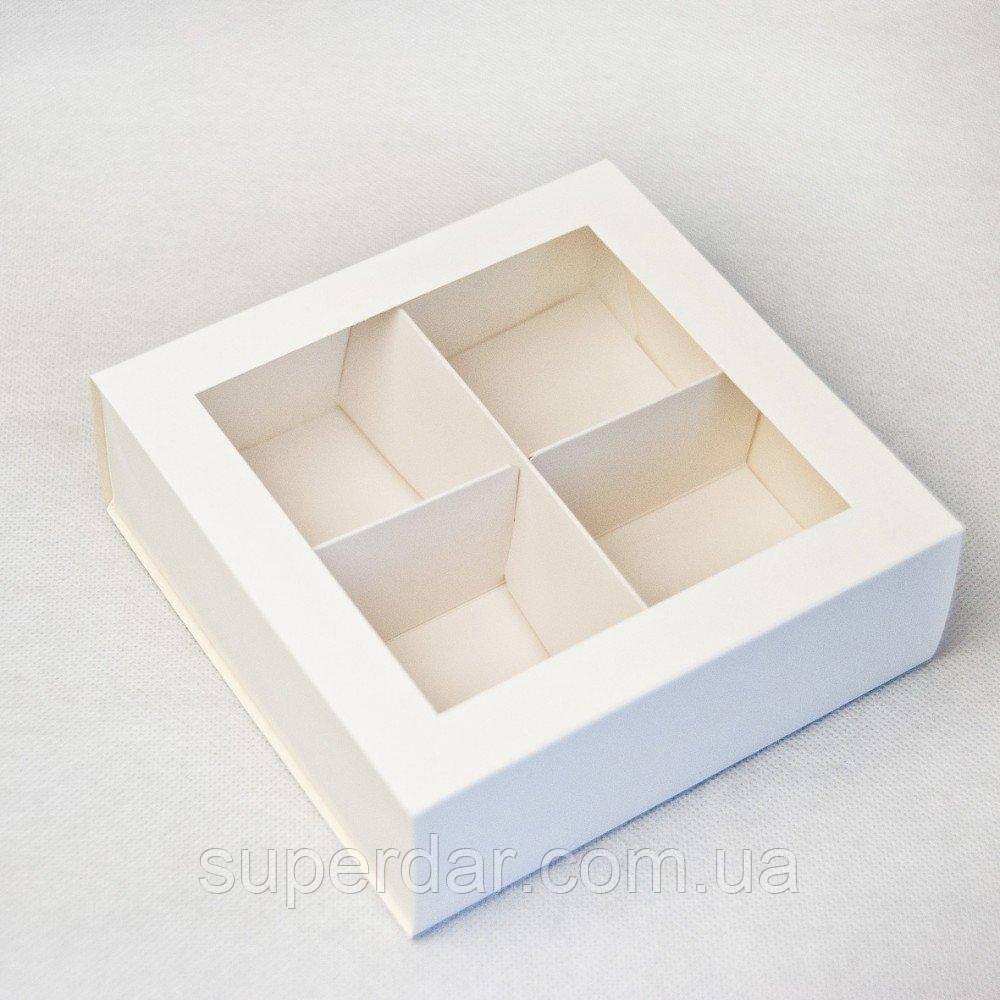 Коробка-пенал 160*160*55 мм, с разделителями, БЕЛАЯ