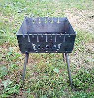 Раскладной мангал чемодан на 6 шампуров 2мм, Сев