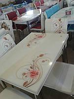 """Комплект кухонный стол и стулья """"CB 019"""" МДФ каленое стекло 70*110 (Лотос-М)"""