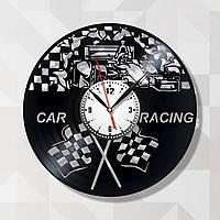 Автогонки Автоспорт Часы с виниловой пластинки Декор в гараж Часы черные Кварцевый механизм Гоночная машина
