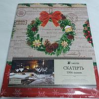 Скатерть прямоугольная новогодняя с рождественскими венками и надписями, размер 150х180 см