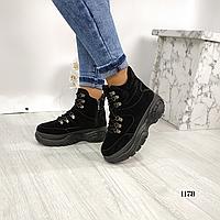 Женские замшевые демисезонные спортивные ботинки на платформе, А 1178