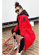 Женскоге пальто Freever чёрное, красное, хаки