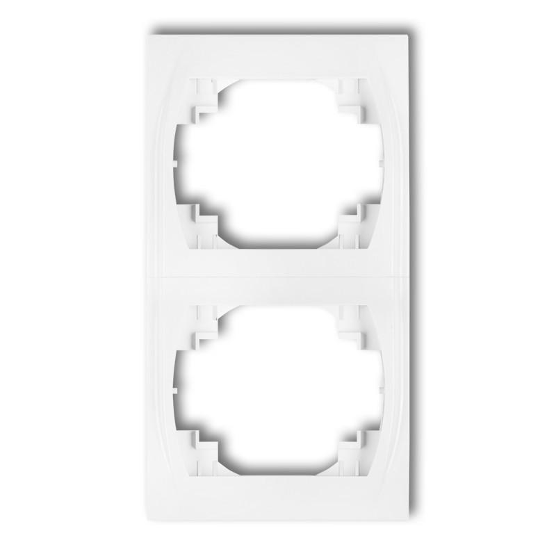 Рамка двойная вертикальная белая Karlik Logo LRV-2 двухместная для розетки выключателя 2-я | 2-ая