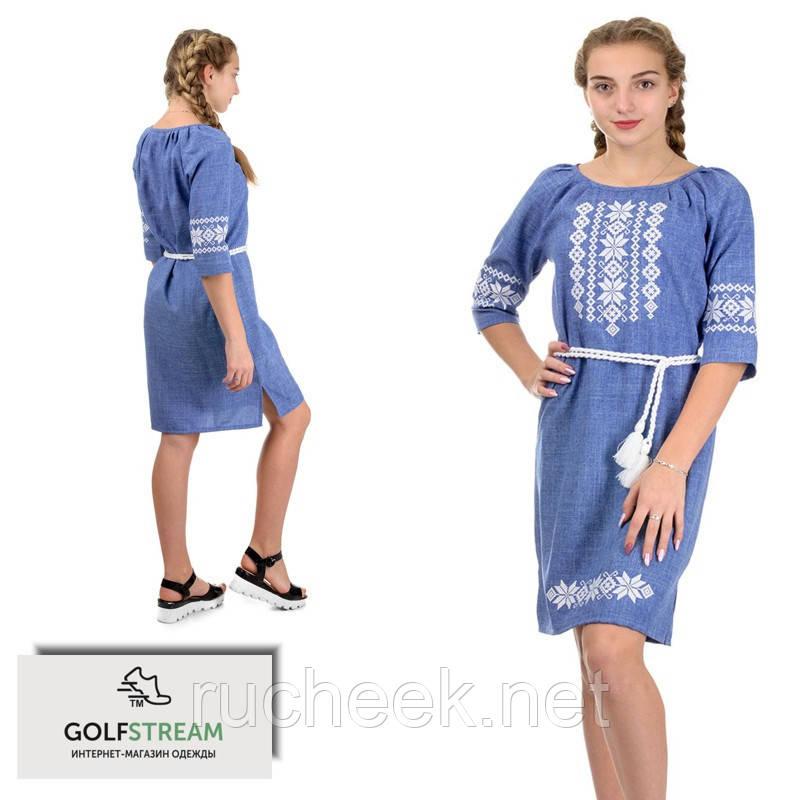 Женское платье с вышивкой (джинс)