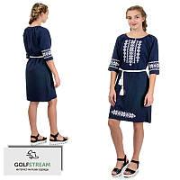 Современное платье-вышиванка лен-габардин (темно-синий)