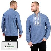 Мужская сорочка-вышиванка Орнамент (джинс), фото 1